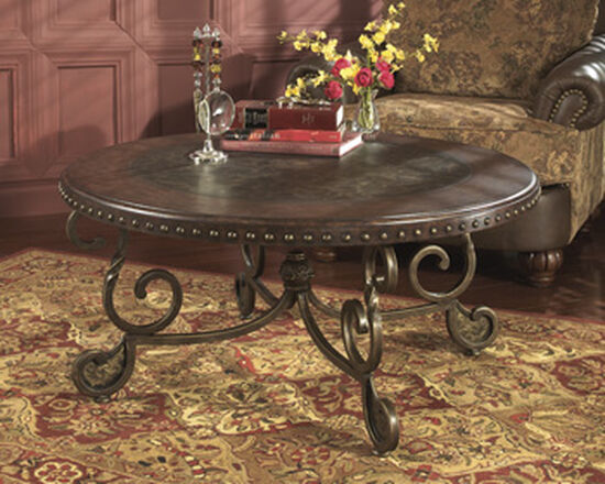 Nailhead Accented Traditional Cocktail Table in Dark Brown