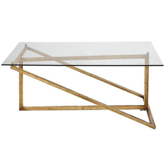 Rectangle Frame Coffee Table in Antiqued Gold Leaf