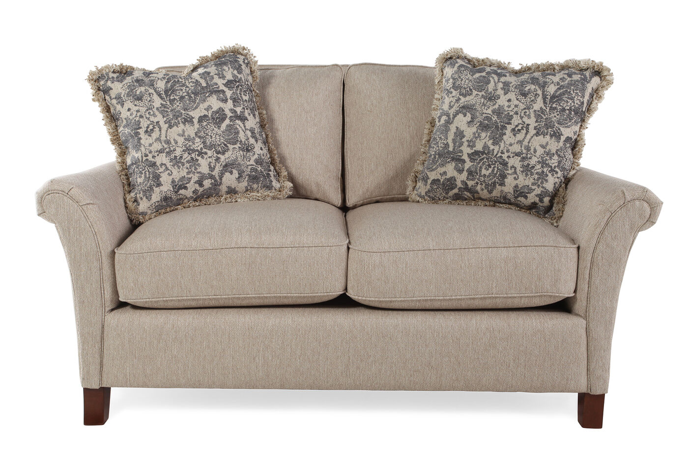 Textured Traditional 63 Loveseat In Honey Brown Mathis Brothers Furniture