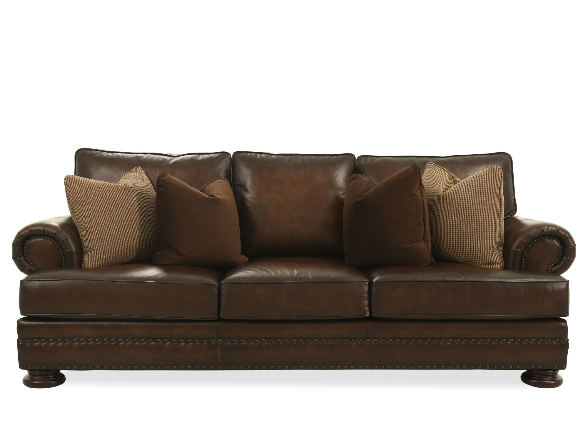 Charmant Images Leather Nailhead Accented 98u0026quot; Sofa In Brown Leather  Nailhead Accented 98u0026quot; Sofa In Brown