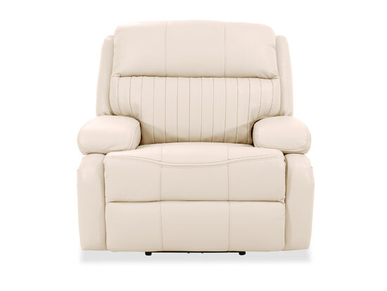 Channel Pleated Leather Power Recliner in Ivory