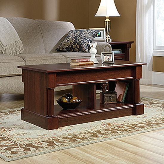 Rectangular Lift-Top Contemporary Coffee Table in Select Cherry