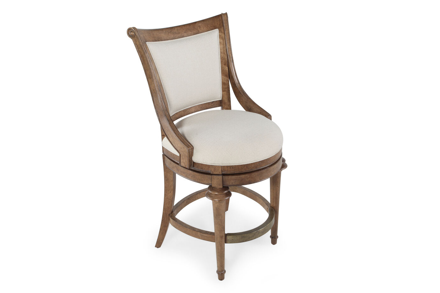 swivel 42 39 39 high dining chair in cream mathis brothers furniture. Black Bedroom Furniture Sets. Home Design Ideas