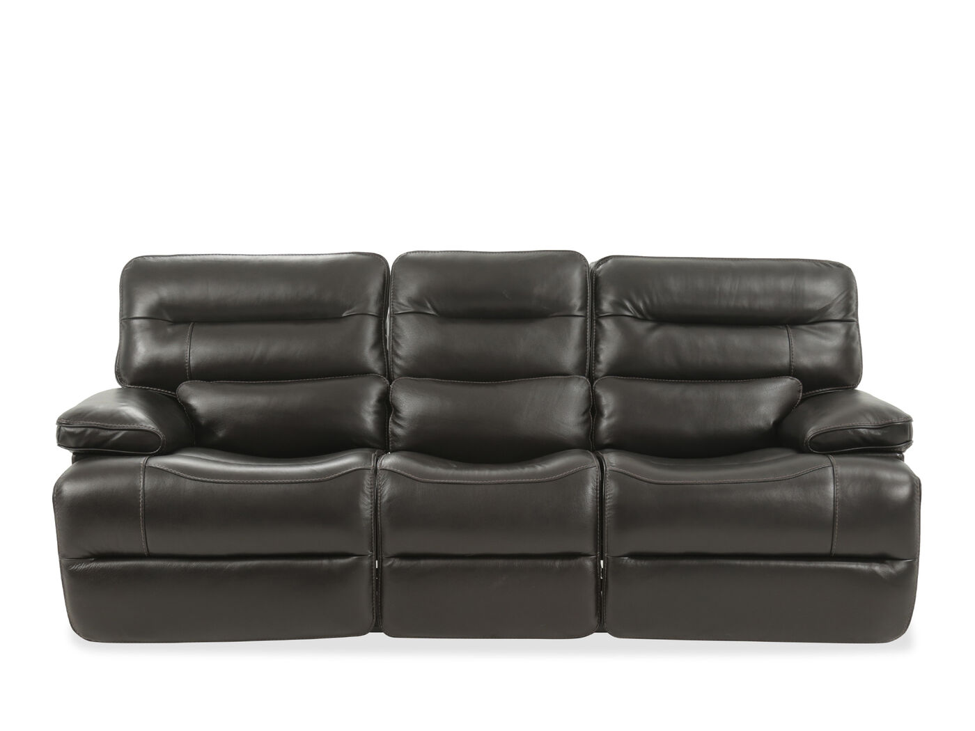 Leather 92 Power Reclining Sofa With Power Headrest In Black  ~ Red Leather Power Reclining Sofa