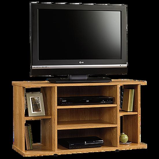 Four Shelf Casual TV Stand in Medium Oak