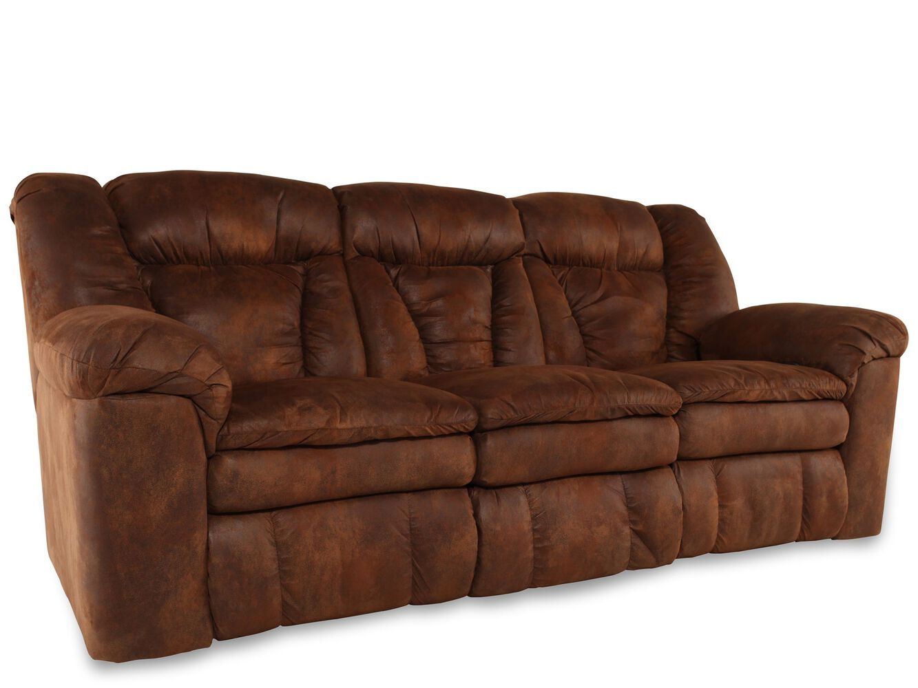 """Microfiber 88"""" Reclining Sofa in Coffee 