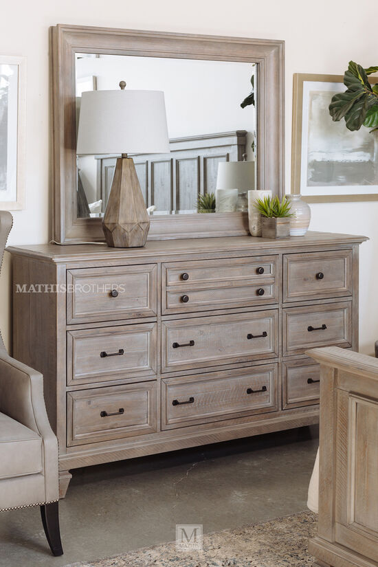 Two-Piece Transitional Dresser & Mirror in Dovetail Gray