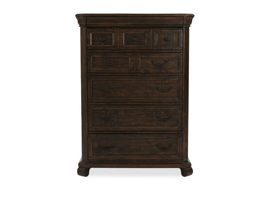 """58"""" European Classic Six-Drawer Chest in Aged Bourbon"""
