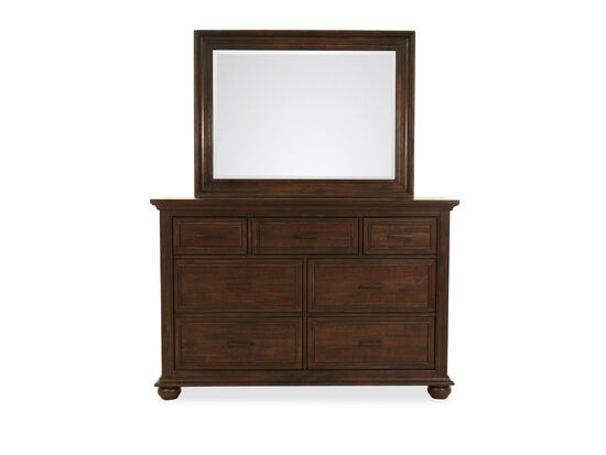 Two-Piece Transitional Seven-Dresser and Mirror in Dark Brown
