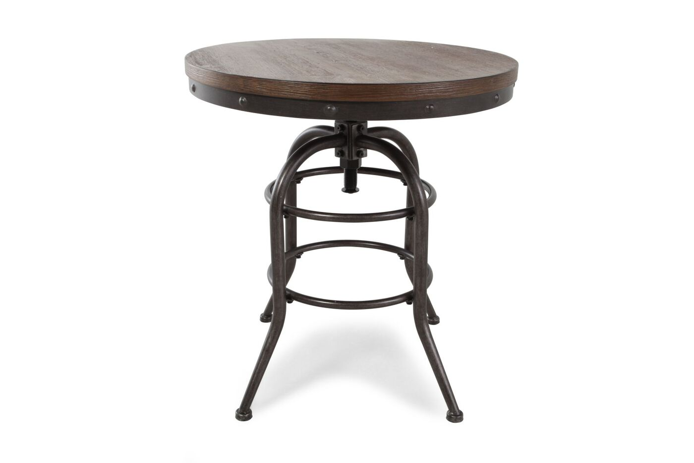 Distressed Round Rustic Farmhouse End Table In Blackened