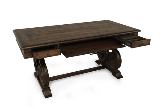 "66"" Scrolled Pedestal Base Traditional Writing Desk in Pecan"