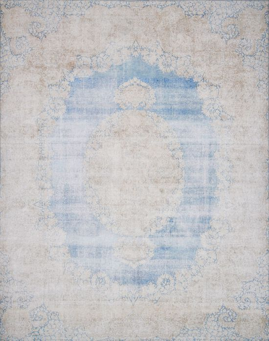 """Traditional 1'-6""""x1'-6"""" Square Rug in Lt. Blue/Sand"""
