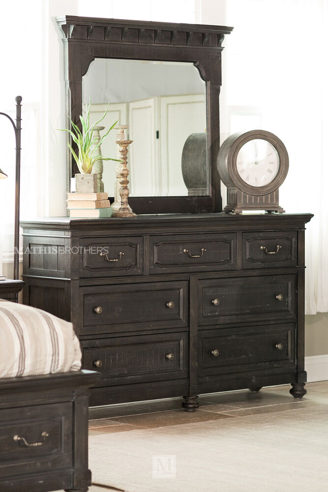 Two Piece Solid Pine Dresser And Mirror In Black Mathis Brothers Furniture