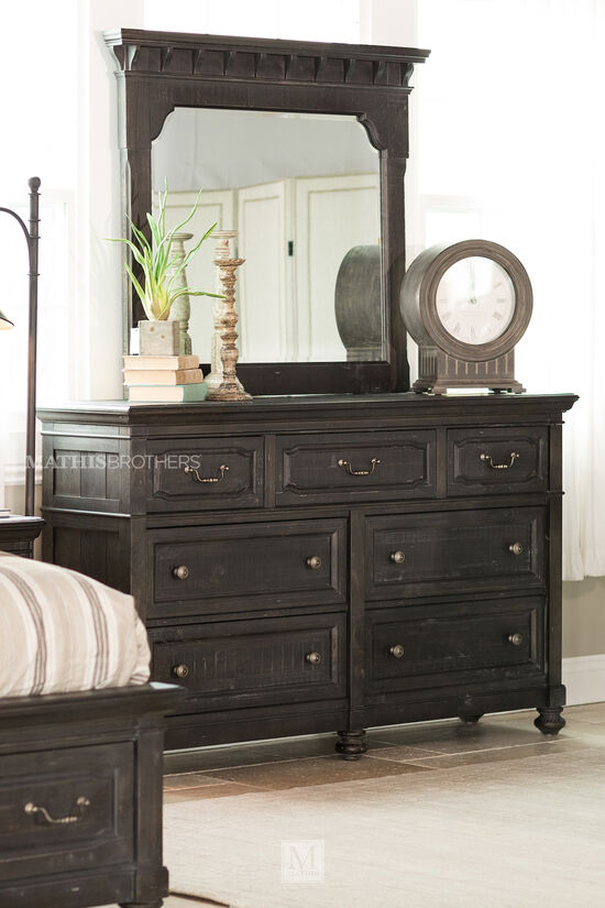 Two-Piece Solid Pine Dresser and Mirror in Black