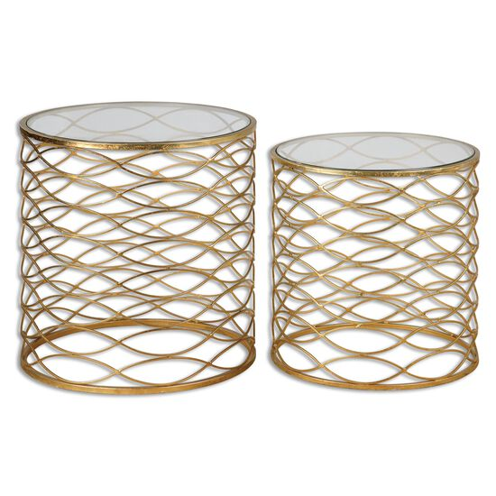Two-Piece Caged Base Accent Table Set in Gold