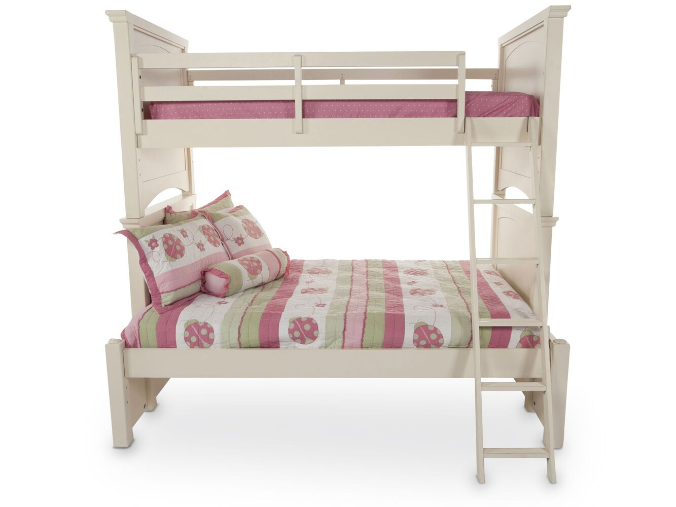 Traditional Youth Twin Over Full Bunk Bed With Ladder In