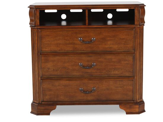 40 three drawer media chest in cherry mathis brothers furniture. Black Bedroom Furniture Sets. Home Design Ideas