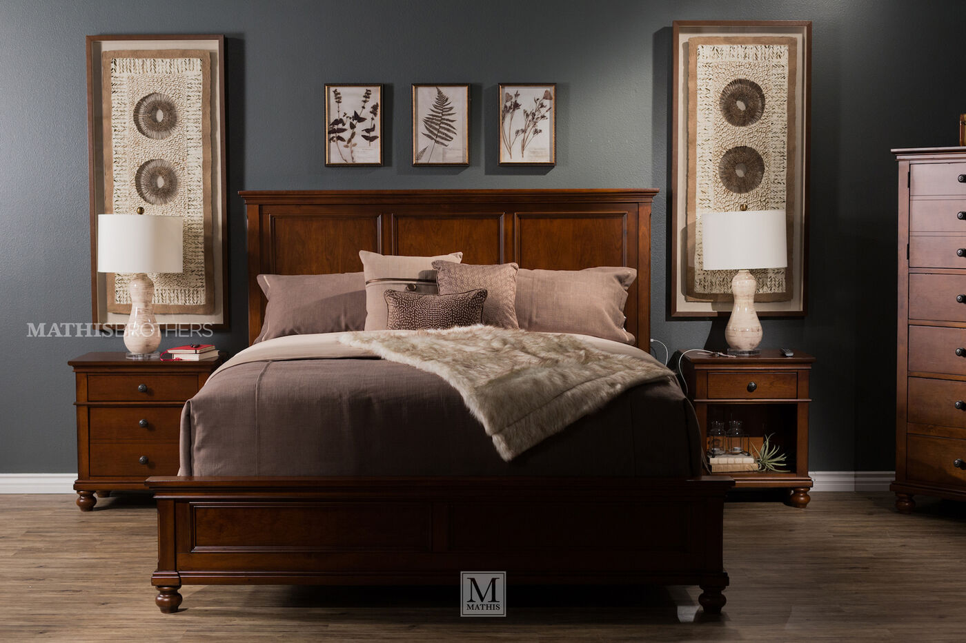 60  Transitional. 60  Transitional Panel Bed with USB Port in Whiskey Brown   Mathis