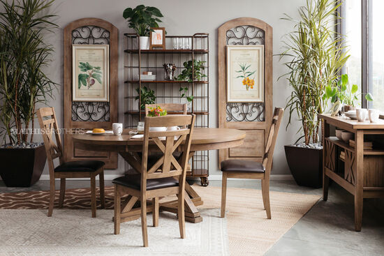 Five-Piece Casual Round Expandable 48'' Dining Set in Medium Brown
