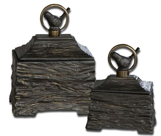 Two-Piece Birdie Boxes in Metallic Gray