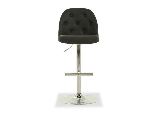 Leather Button Tufted Adjustable Bar Stool in Gray