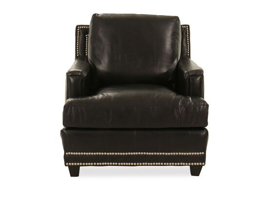 Nailhead-Trimmed Contemporary Chair in Black