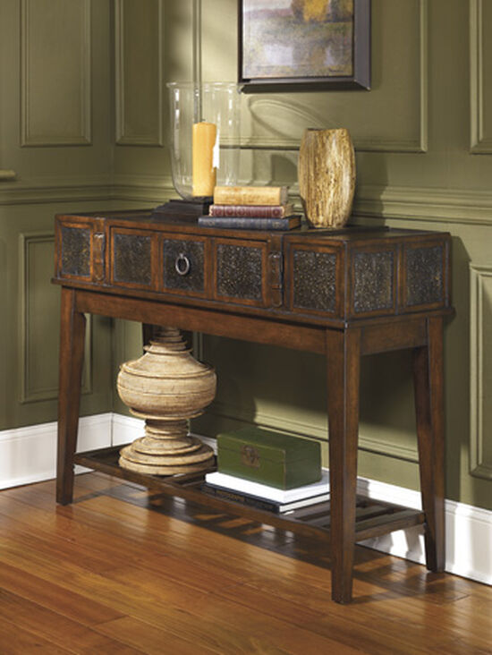 Stamped Insets Casual Sofa Table in Dark Brown