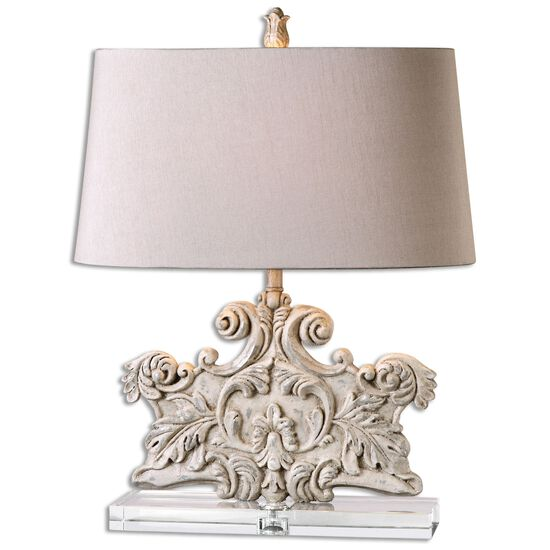 Scrolled Leaf Table Lamp in Ivory Stone