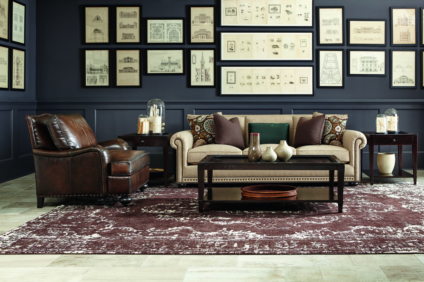 High profile nailhead accented 96 sofa in beige mathis brothers furniture for Mathis brothers living room furniture