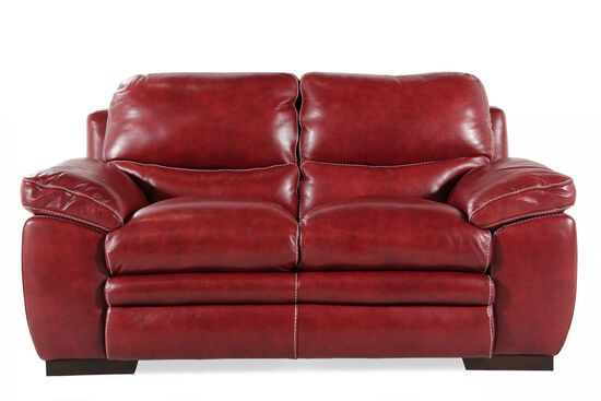 "Contemporary Leather 67"" Loveseat in Red Salsa"