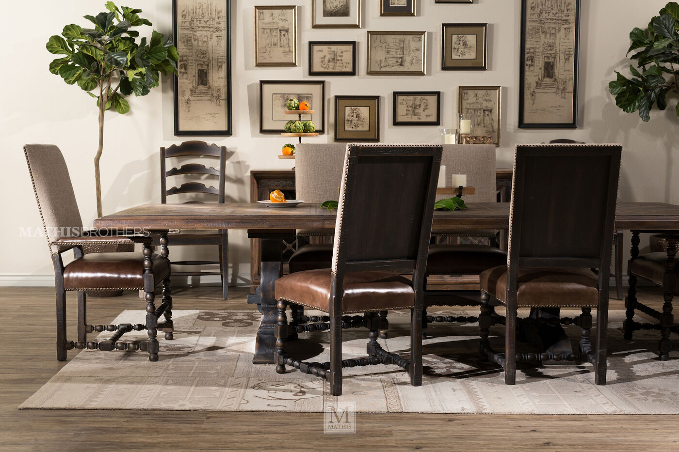 "hooker hill country bandera brown 86"" table 