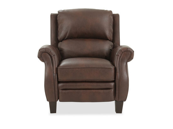 Leather Free Standing Push Back Recliner in Brown