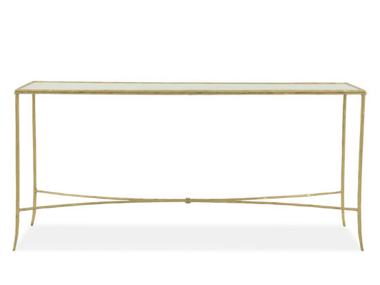 Antiqued Glass Top Modern Console Table in Gold