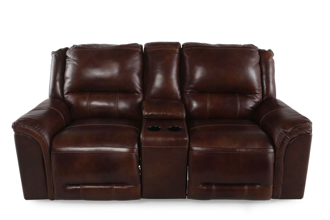 Power Reclining Leather 81 Quot Loveseat With Console In Dark