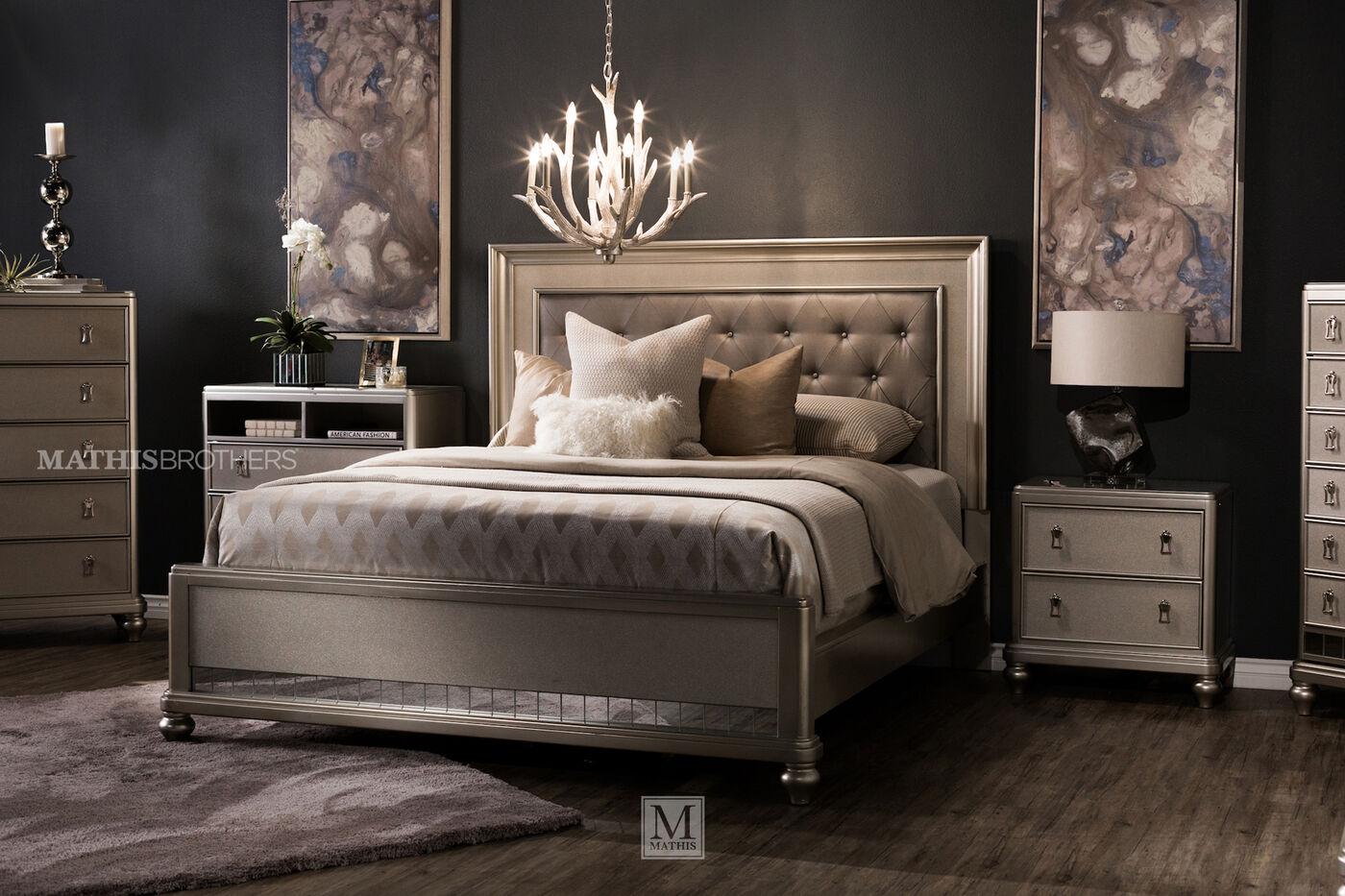 Four Piece Transitional Bedroom Set In Platinum Mathis
