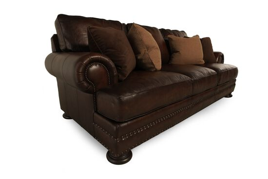 "Leather Nailhead-Accented 98"" Sofa in Brown"