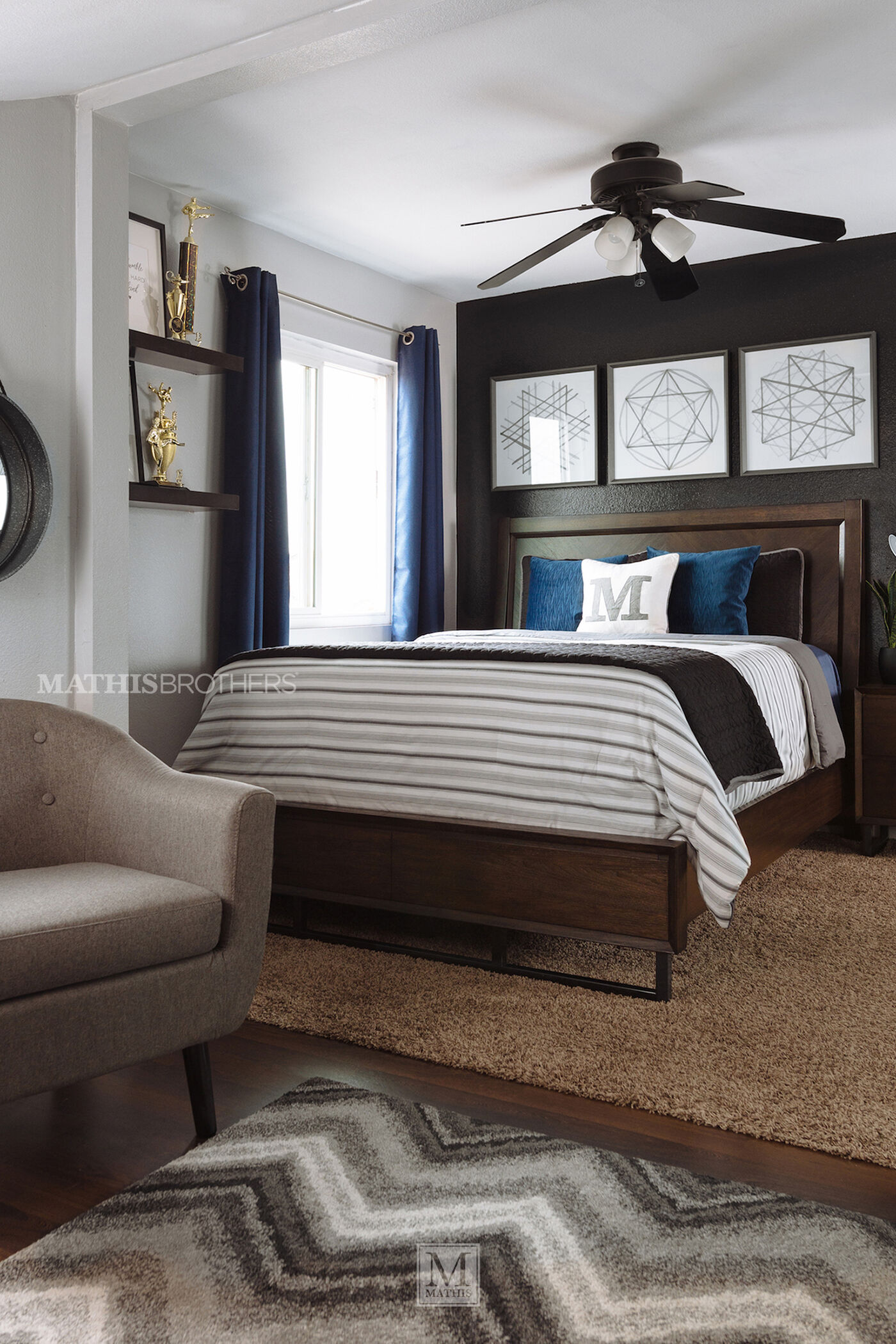 Three-Piece Mid-Century Modern Bedroom Set In Graphite