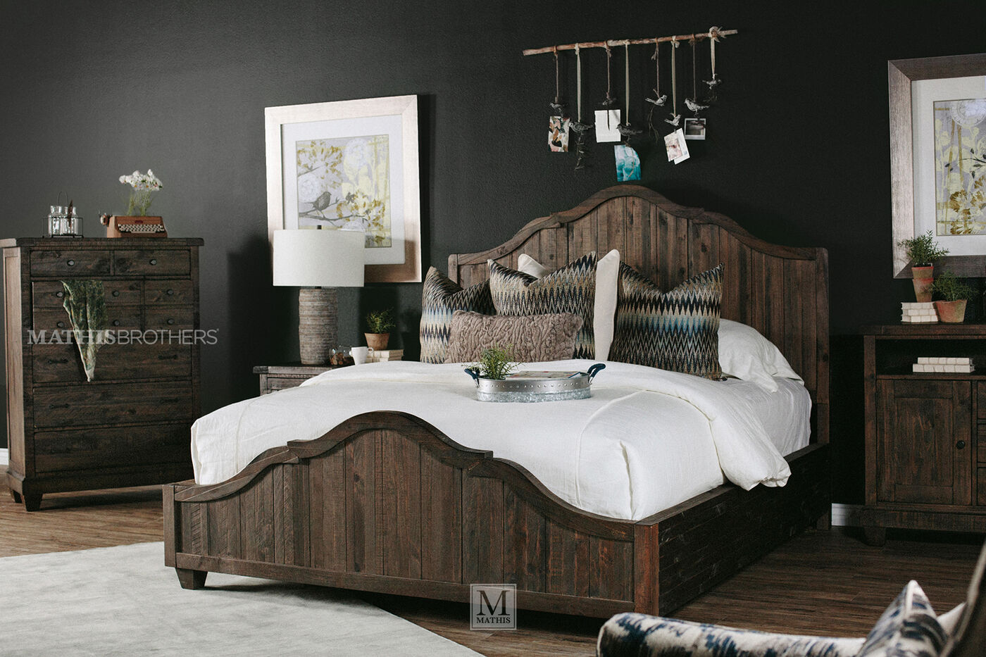 64 Cottage Planked Panel Bed In Natural Umber Mathis Brothers Furniture