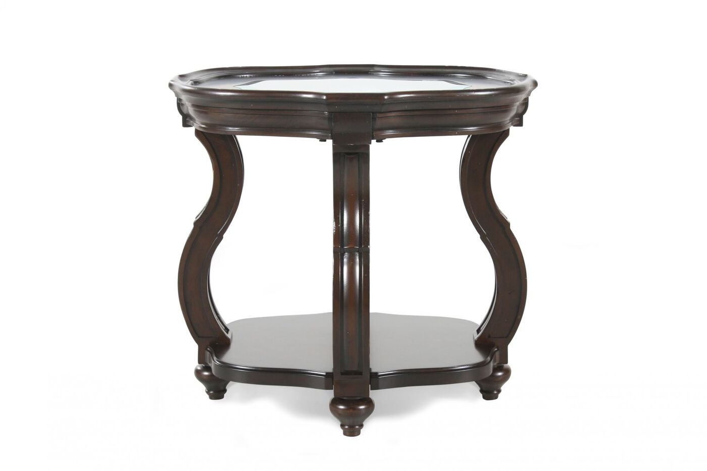 Oval Distressed Contemporary End Table In Deep Cherry Mathis Brothers Furniture