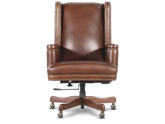 Leather Nailhead Trimmed Executive Swivel Tilt Chair in Rich Brown