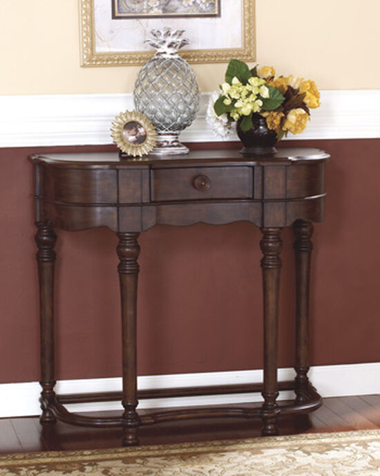 Scrolled-Front Contemporary Sofa Table in Dark Brown