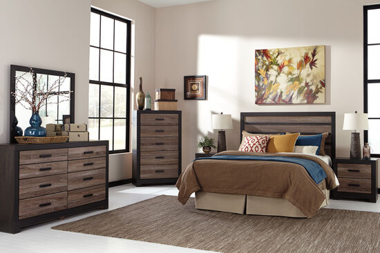 Four-Piece Weathered Bedroom Set in Brown