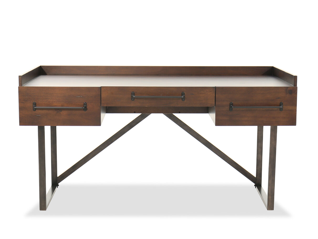 63 contemporary three drawer desk in walnut mathis for Furniture furniture