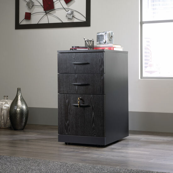 Three-Drawer Contemporary Pedestal File in Bourbon Oak
