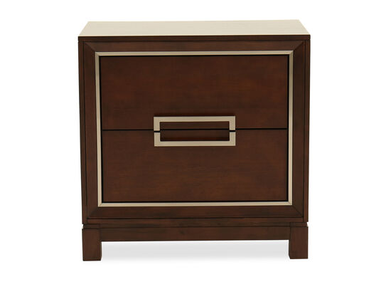 "28"" Contemporary Two-Drawer Nightstand in Brown"