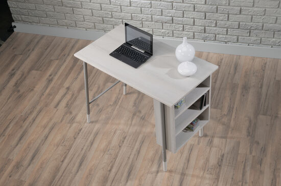 "36"" Two-Shelf Mid-Century Modern Computer Desk in Gray Ash"