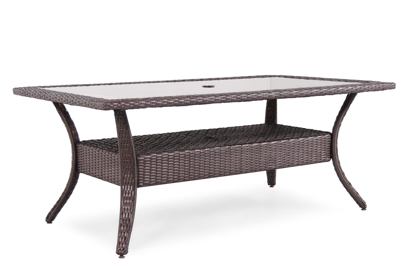 Contemporary glass top dining table with woven shelf in for Dining table shelf