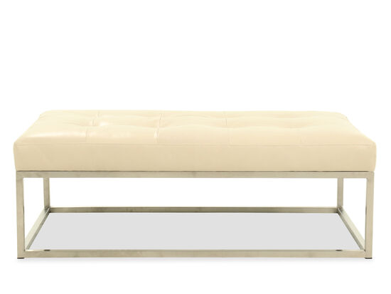"Tufted Casual 53"" Leather Cocktail Ottoman in Beige"