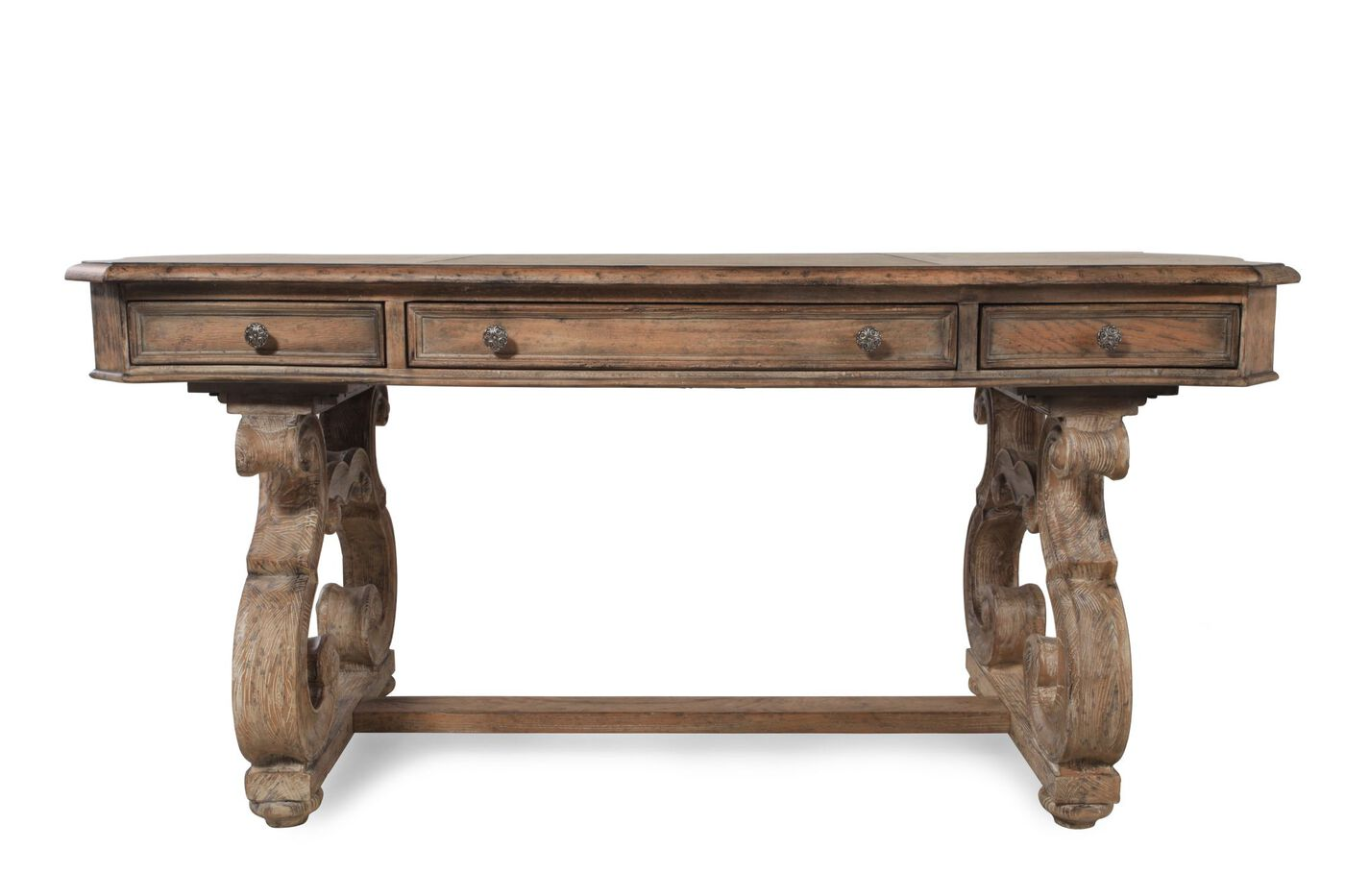 66 Quot Traditional Scrolled Leg Writing Desk In Brown