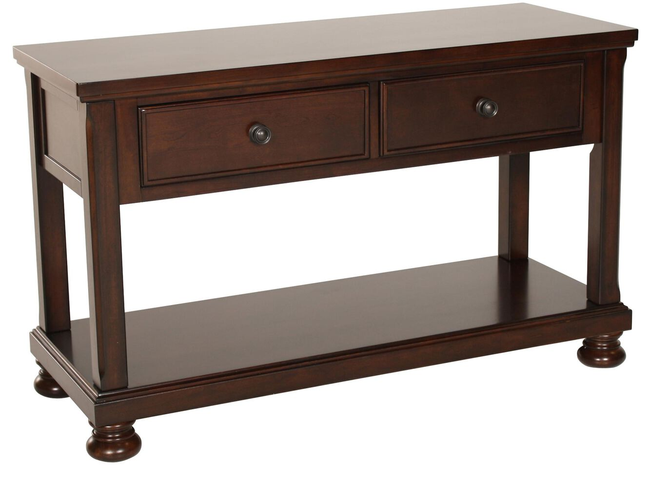 Two drawer traditional sofa table in brown cherry mathis two drawer traditional sofa table geotapseo Gallery